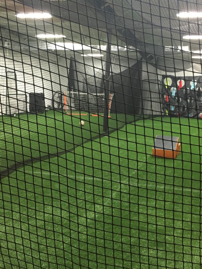 Baseball/softball tunnels can also be used for soccer shooting training.